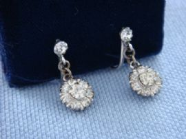 1930s Silver and Diamante Screw on Earrings (SOLD)